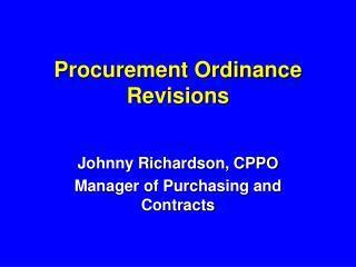 Procurement Ordinance Revisions