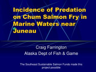 Incidence of Predation on Chum Salmon Fry in Marine Waters near Juneau