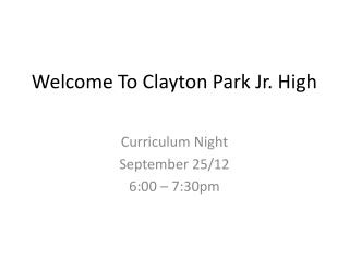 Welcome To Clayton Park Jr. High