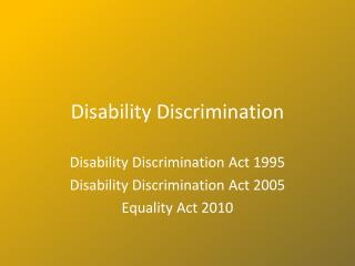 Disability Discrimination