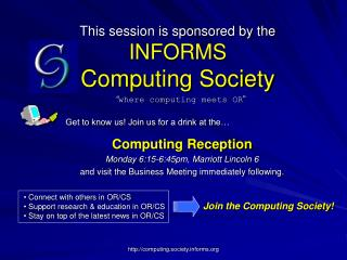 This session is sponsored by the INFORMS  Computing Society
