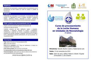 Curso de procesamiento  de la Leche Humana  en Unidades de Neonatología 2ª edición