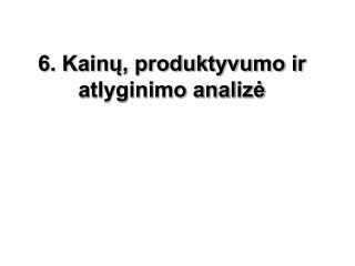6. Kainų, produktyvumo ir atlyginimo analizė