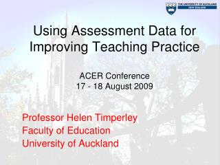 Using Assessment Data for Improving Teaching Practice   ACER Conference 17 - 18 August 2009