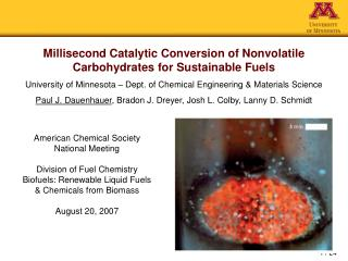 Millisecond Catalytic Conversion of Nonvolatile Carbohydrates for Sustainable Fuels