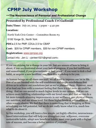 CPMP July Workshop