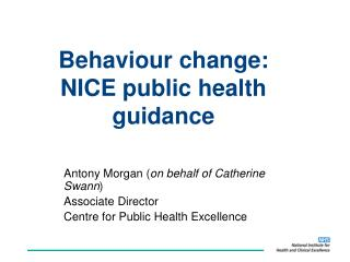 Behaviour change: NICE public health guidance
