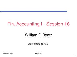 Fin. Accounting I - Session 16