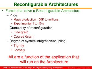 Reconfigurable Architectures