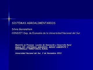 Maestría en Procesos  Locales de Innovación y Desarrollo Rural