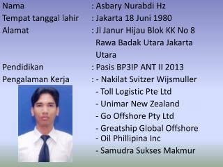 Nama :  Asbary Nurabdi  Hz Tempat tanggal lahir : Jakarta 18  Juni  1980