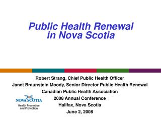 Public Health Renewal  in Nova Scotia