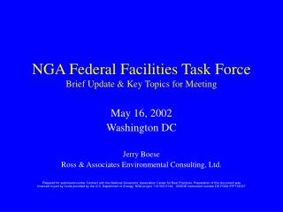 NGA Federal Facilities Task Force Brief Update & Key Topics for Meeting
