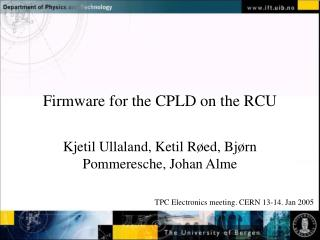 Firmware for the CPLD on the RCU