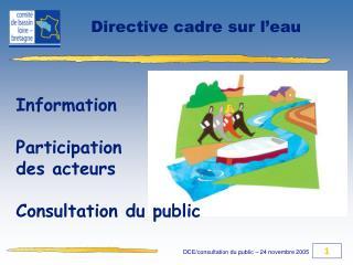 Information Participation des acteurs Consultation du public