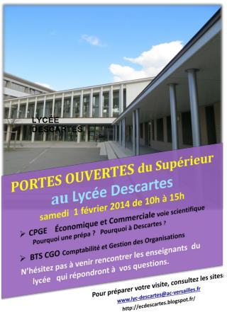 PORTES OUVERTES  du Supérieur au  Lycée Descartes samedi  1 février 2014 de 10h à 15h