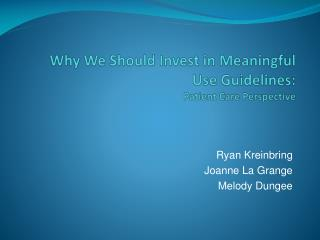 Why We Should Invest in Meaningful Use Guidelines: Patient Care Perspective