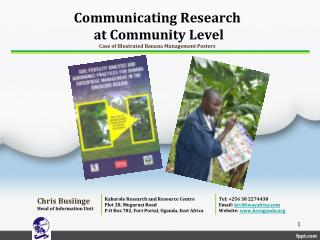 Communicating Research  at Community Level Case of Illustrated Banana Management Posters