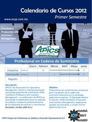 Calendario de Cursos 2012 Primer Semestre