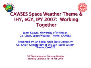 CAWSES Space Weather Theme & IHY, eGY, IPY 2007:  Working Together