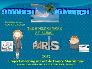 THE WORLD OF  WORK AT  SCHOOL
