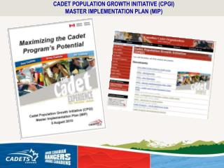 CADET POPULATION GROWTH INITIATIVE (CPGI) MASTER IMPLEMENTATION PLAN (MIP)