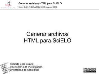 Generar archivos HTML para SciELO