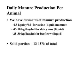 Daily Manure Production Per Animal