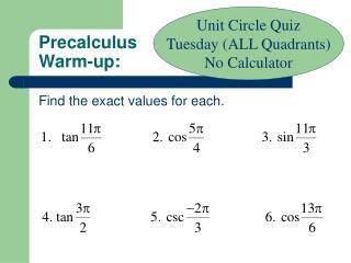 Precalculus Warm-up:
