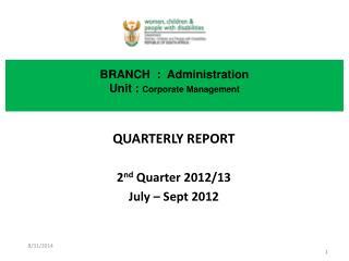 BRANCH  :  Administration Unit :  Corporate Management