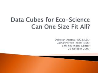 Data Cubes  for Eco-Science  Can One Size Fit All?