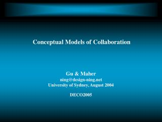 Conceptual Models of Collaboration