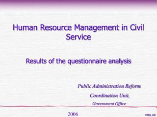 Results of the questionnaire analysis