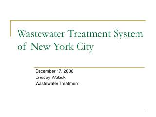 Wastewater Treatment System of New York City