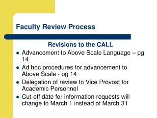 Faculty Review Process