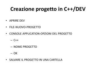 C reazione progetto in C++/DEV