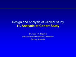 Design and Analysis of Clinical Study  11. Analysis of Cohort Study