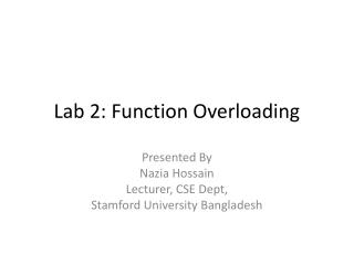 Lab 2: Function Overloading