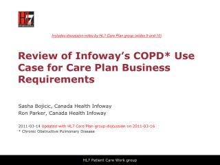 Review of Infoway's COPD* Use Case for Care Plan Business Requirements