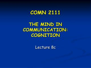 COMN 2111  THE MIND IN COMMUNICATION: COGNITION