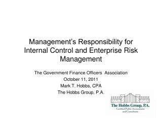 Management's Responsibility for Internal Control and Enterprise Risk Management