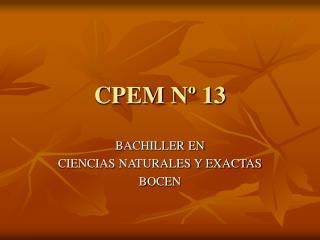CPEM N� 13