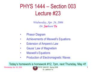 PHYS 1444 – Section 003 Lecture #23