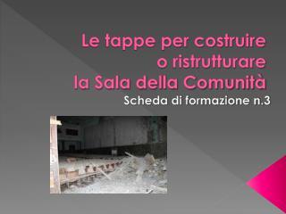 Le tappe per costruire  o ristrutturare  la Sala della Comunità