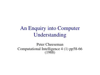 An Enquiry into Computer Understanding