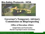 Bio-Safety Protocols - HCIA