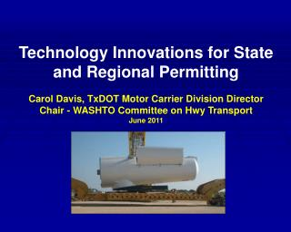 Technology Innovations for State and Regional Permitting