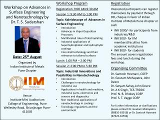 Workshop on Advances in Surface Engineering  and Nanotechnology by  Dr. T. S. Sudarshan
