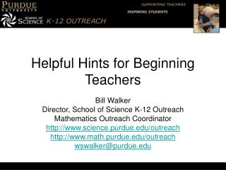 Helpful Hints for Beginning Teachers