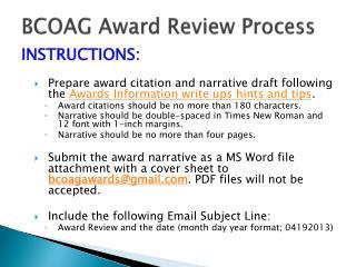BCOAG Award Review Process